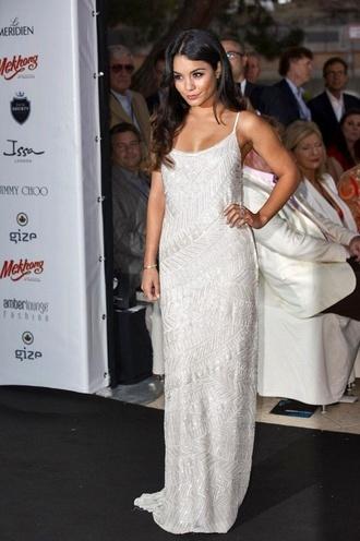 dress vanessa hudgens white dress beading dress pearl