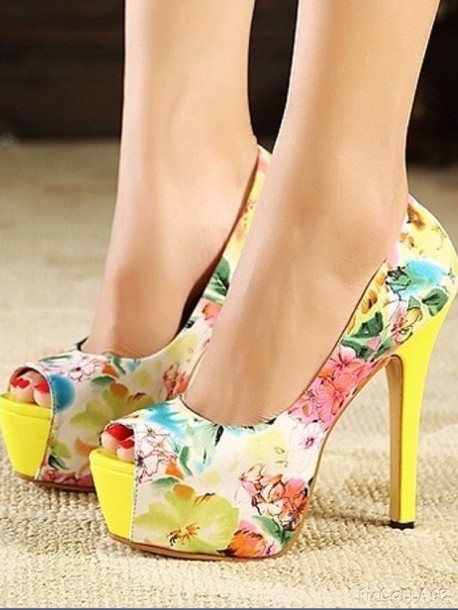 shoes yellow floral