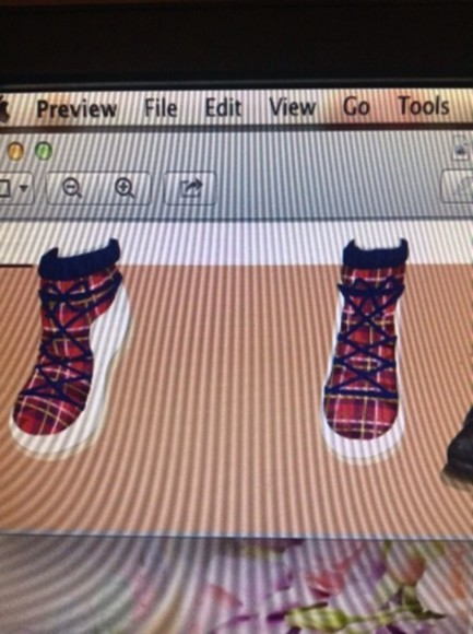 shoes red navy blue plaid