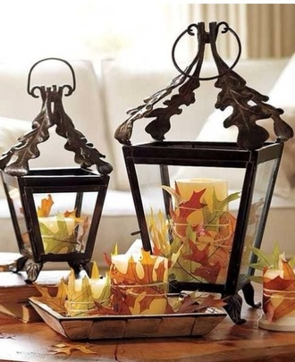 home accessory fall colors leafs home decor living room candle