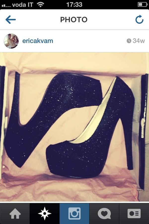 shoes black high heels glitter
