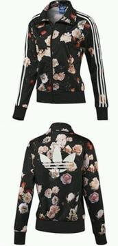 jacket,adidas,jersey,flowers,black,jumper,adidas jacket,adidas floral,floral jacket