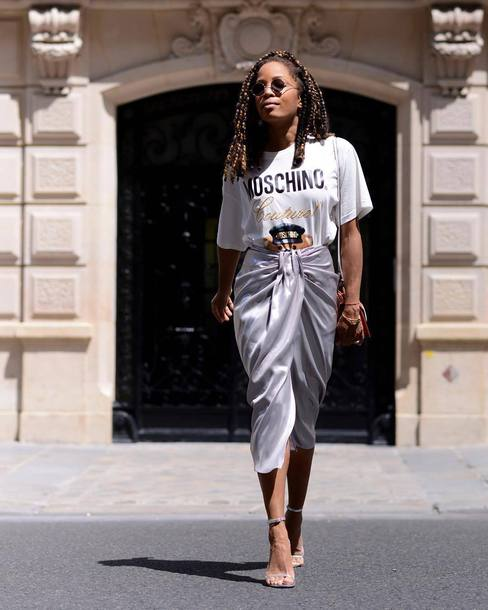 skirt grey skirt top white top sunglasses shoes