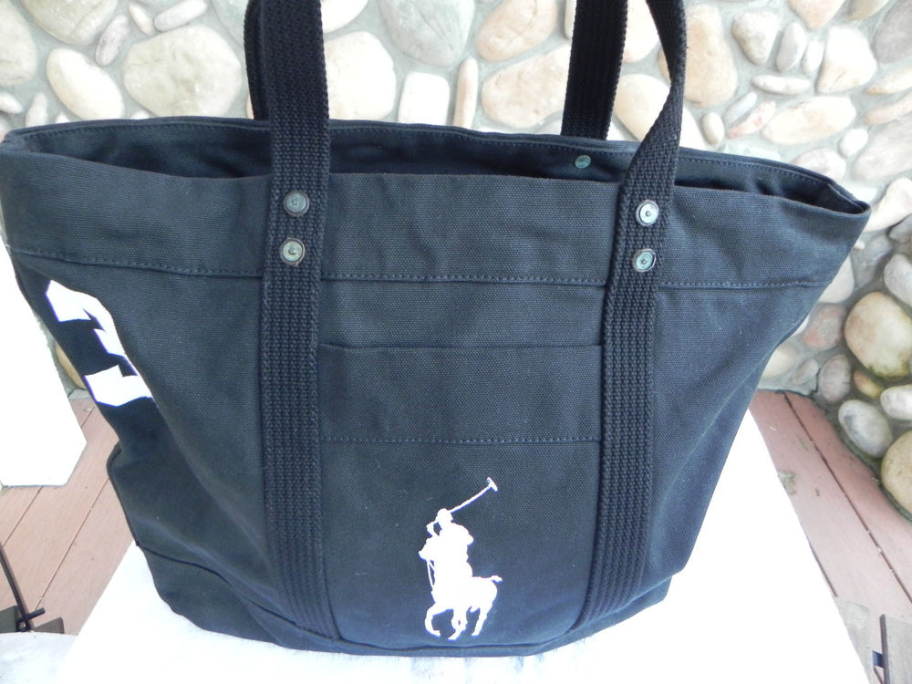 Ralph Lauren Big Pony Canvas Handbag Blue Black White