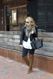 ablonde'smoment,blogger,jacket,scarf,leggings,shoes,bag,sunglasses,over the knee boots,winter outfits,black leather jacket,handbag,brown boots