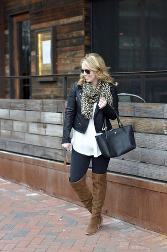 ablonde'smoment blogger jacket scarf leggings shoes bag sunglasses over the knee boots winter outfits black leather jacket handbag brown boots