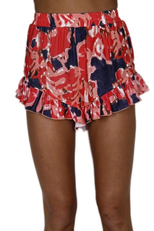 red white and blue frill shorts frill hem shorts printed shorts www.ustrendy.com