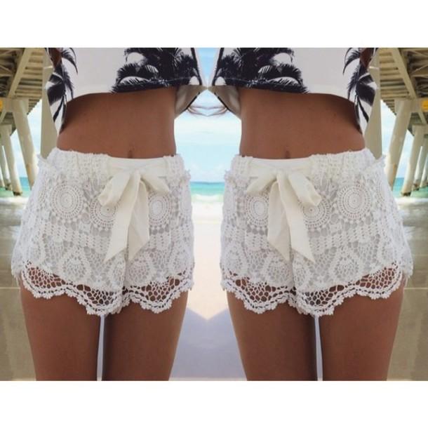 pants white shorts white pant fashion beautiful znu lace crochet short