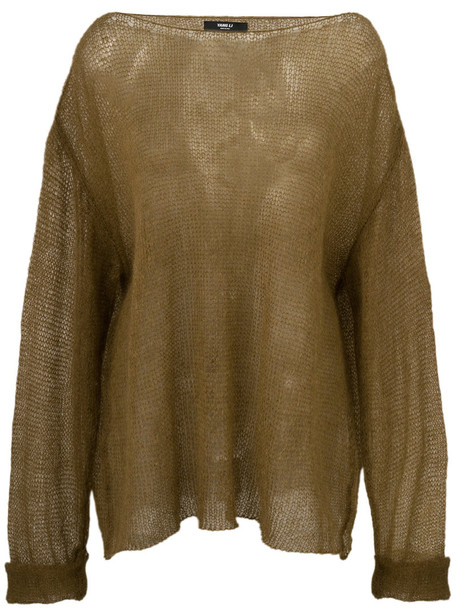 YANG LI sweater oversized women mohair wool brown