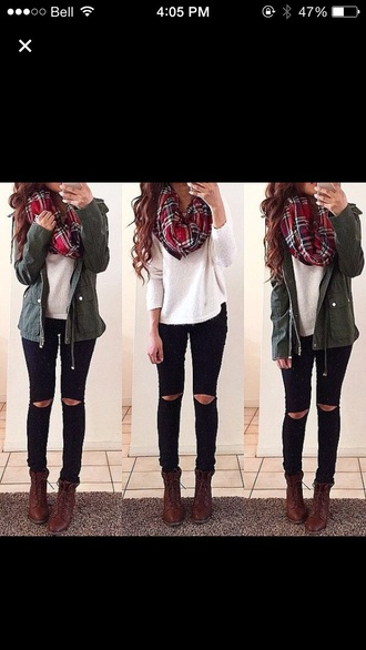 coat boots jacket scarf shirt style jeans shoes