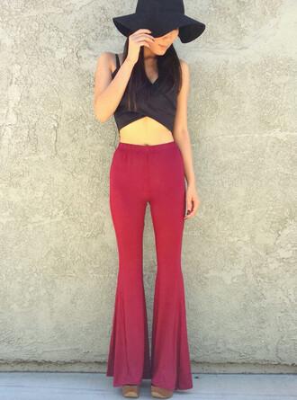 pants red red pants burgundy maroon/burgundy maroon pants burgundy pants flare flare pants flared leg pants