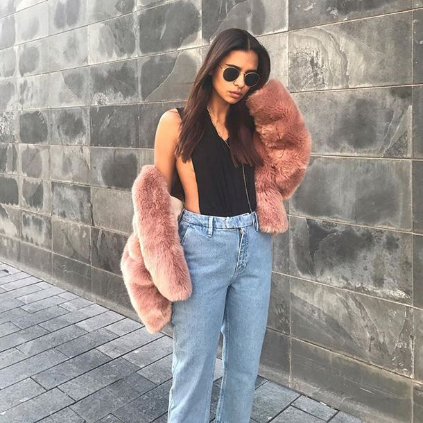 tank top vanessa moe x na-kd emitaz pink fur coat faux faux fur jeans denim high waisted necklace girl sunglasses rayban girly sweet pretty tan tanned blue black navy fierce fashion nakdfashion nakd na-kd cool outfit ootd high wasted denim jeans