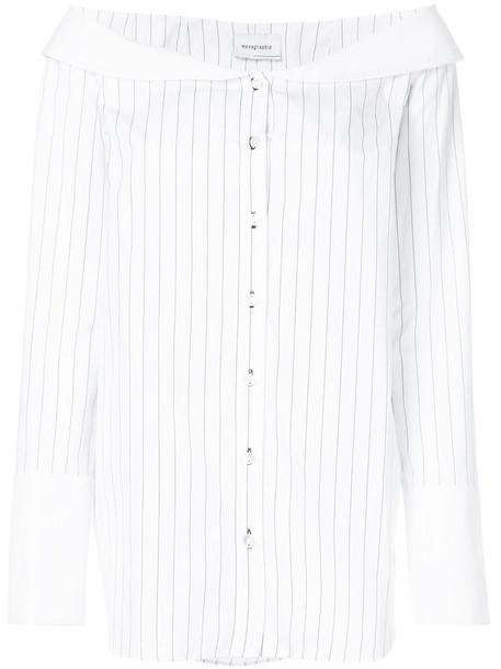 Monographie - striped bardot shirt - women - Cotton - S, White, Cotton