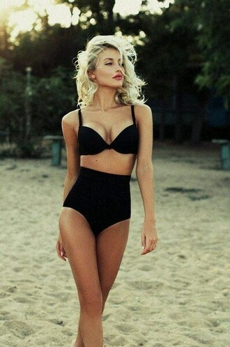 swimwear black high waisted bikini boho bikini