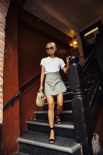 skirt plaid skirt plaid plaid mini skirt wrap skirt t-shirt white t-shirt sandals bag basket bag sunglasses