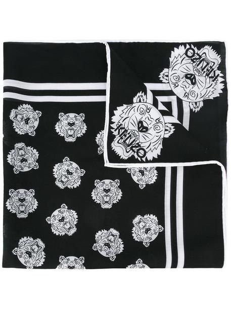 women tiger scarf cotton black silk