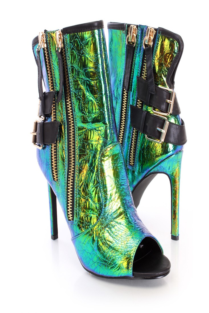 Green iridescent zippers single sole booties faux leather