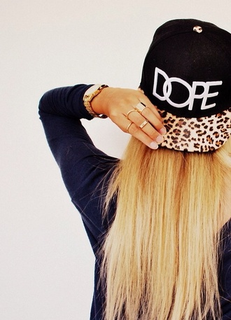 hat cap dope panterprint black hipster leopard print snapback pantherprint girl tumblr style tumblr girl blonde hair swag