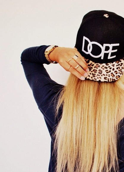 cap hat dope panterprint black