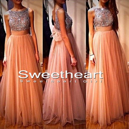 Line beaded round neckline long prom dresses, evening dresses