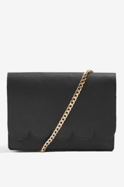 Topshop cross scalloped bag leather black