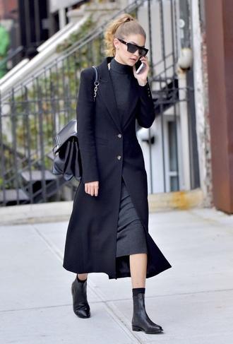 dress midi dress fall outfits streetstyle gigi hadid model off-duty coat boots sunglasses