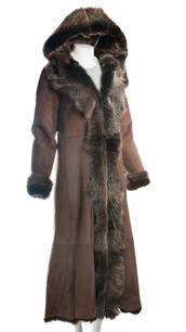 coat,leather ladies full length brown