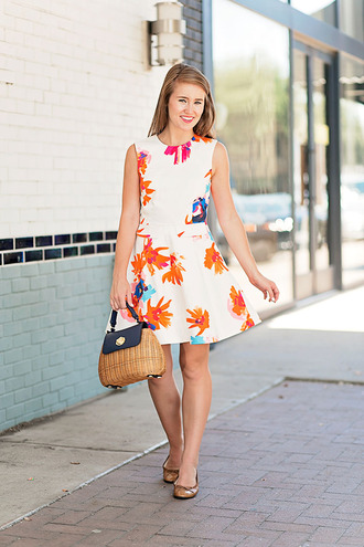 a lonestar state of southern blogger dress bag jewels shoes white dress mini dress mini bag flats basket bag sleeveless dress floral dress short dress date outfit date dress summer dress summer outfits ballet flats