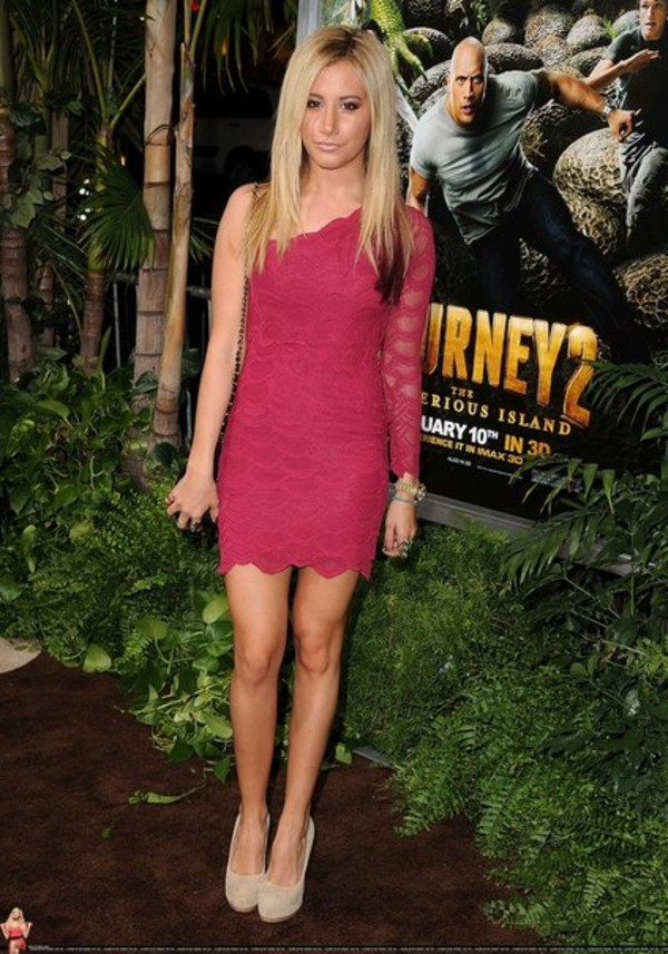 dress ashley tisdale one shoulder pink lace dress