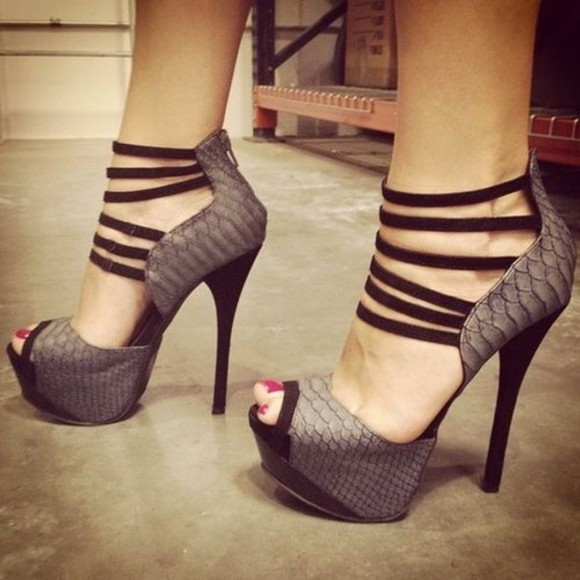 shoes snake high heels print grey
