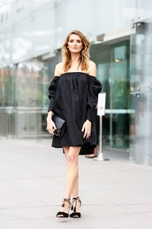 le fashion,blogger,dress,bag,shoes,off the shoulder,black dress,long sleeves,long sleeve dress,black bag,mini bag,sandals,sandal heels,black off shoulder dress,black sandals,furry sandals,all black everything,furry shoes,summer black dress