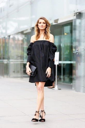 le fashion blogger dress bag shoes off the shoulder black dress long sleeves long sleeve dress black bag mini bag sandals sandal heels black off shoulder dress black sandals furry sandals all black everything furry shoes summer black dress