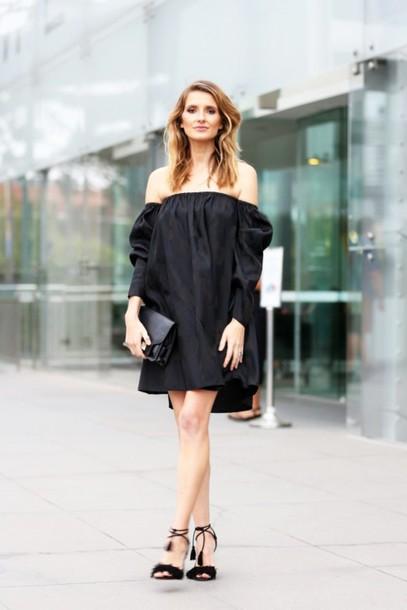 Le Fashion Blogger Dress Bag Shoes Off The Shoulder Black