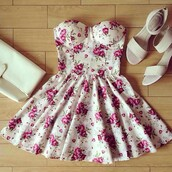 dress,tumblr,instagram,floral dress,white dress,pink flowers,short,short cream floral dress,white floral short dress,pink,pink dress,earphones,flowers,white