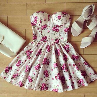 dress tumblr instagram floral dress white dress pink flowers short short cream floral dress white floral short dress pink pink dress earphones flowers white