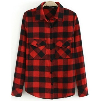 Red Lapel Long Sleeve Plaid Pockets Blouse-in Blouses & Shirts from Apparel & Accessories on Aliexpress.com | Alibaba Group