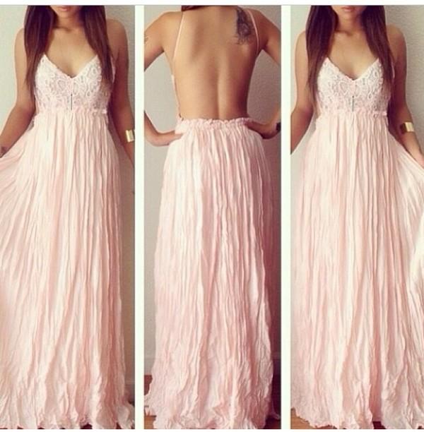 light pink dress long dress speghetti strap maxi dress pink dress prom dress backless dress backless prom dress white dress dress
