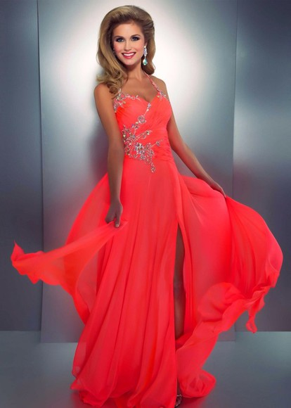 dress long dress bright coral bright colored bright long prom dresses jeweled dress