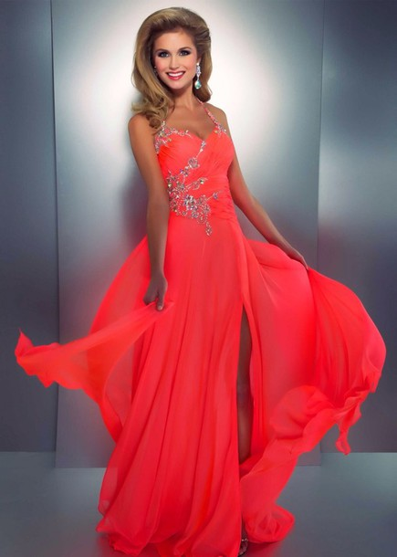 dress, bright coral, bright, bright, long prom dress, long dress ...