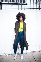style me grasie,blogger,t-shirt,jeans,shoes,yellow top,grey coat,sneakers,converse,curly hair,natural hair,casual,spring outfits