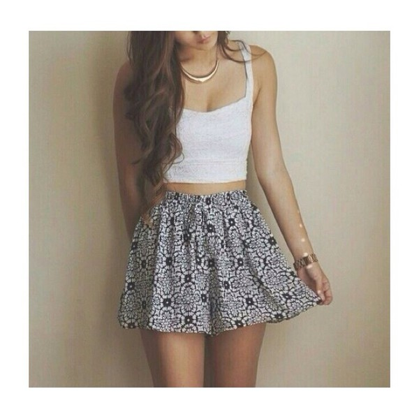 skirt floral skirt black and white