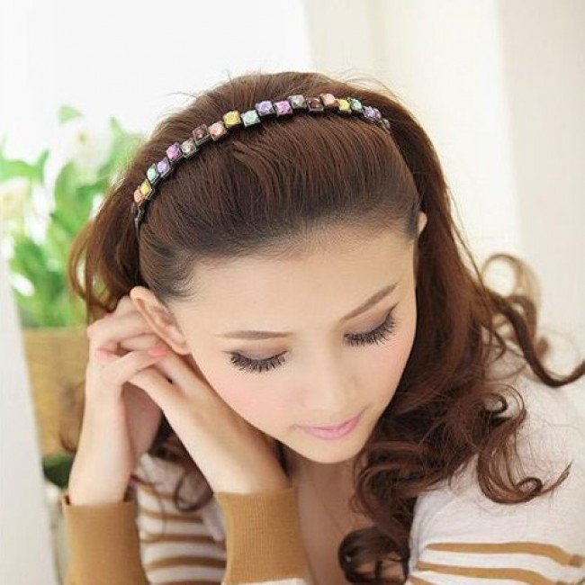 Charming Colored Square Faux Gem Hairband For Women
