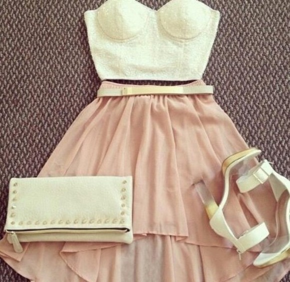 cream shoes pale pink shirt skirt Bustier bag lace crop top high-low skirt