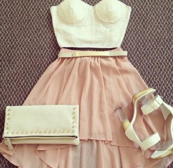 skirt lace crop top cream light pink bustier high low skirt shirt shoes bag