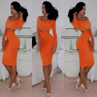 skirt maxi skirt orange skirt