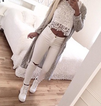 jeans white white jeans skinny pants super skinny jeans damaged jeans white timberlands lace lace top white lace top grey cardigan lace crop top top
