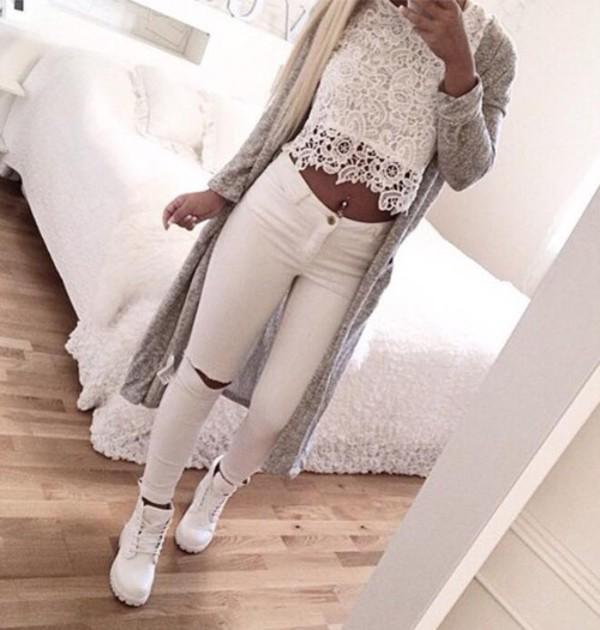 PETITE MOTO Winter White Ripped Jamie Jeans - Jamie Jeans - Jeans