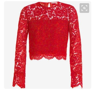 blouse lace red summer cute hot