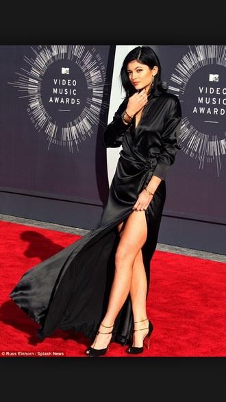 dress kylie jenner kardashians slit silk dress long dress vma slit dress maxi dress