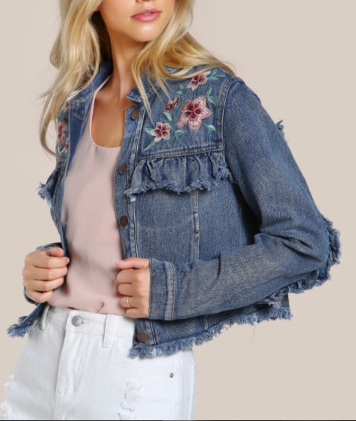 jacket embroidered girly denim jacket denim cute floral flowers frayed denim crop cropped